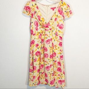 Betsey Johnson pink yellow floral dress size 10